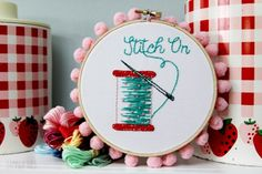 This sweet little spool embroidery would be the perfect decor for a sewing room or gift for a sewist.