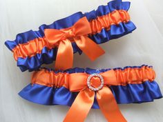 Wedding garter set royal blue and orange satin with rhinestone.
