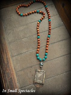 ORIGINAL Soldered Filigree Glass Bevel© and Hand Knotted Turquoise Jade and Wood Bead Necklace
