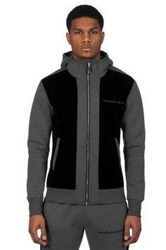 Grey Neoprene And Velvet Track Jacket