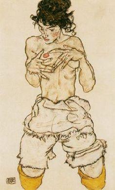 Egon Schiele - Kniender half act of II