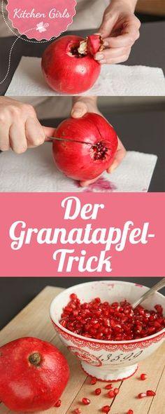 Granatapfel entkernen So, pomegranate guts goes right. Peel and prepare a pomegranate recipe + a rec Healthy Cooking, Cooking Recipes, Healthy Recipes, Healthy Food, Pomegranate Recipes, Fiber Rich Foods, Paleo Dessert, Fruit Smoothies, Baking Tips
