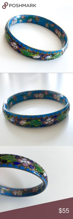 VINTAGE Chinese Cloisonné Enamel Bangle A vintage wide Chinese cloisonné bangle bracelet worked with a king fisher gold scalloped edge and inner surface, and a striking black, red, dark blue, rose and green floral design worked in relief over a gilt ground. The bracelet is 1.2 inch (13mm) wide, and measures 8 inches (20.3cm) around the inner surface. It is in excellent condition. Bought 20 years ago in an antique shop. Jewelry Bracelets
