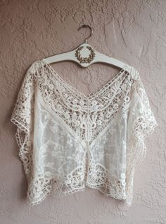 Bohemian lace and crochet crop top with sheer embroidered floral design beach day