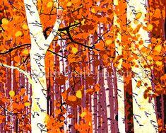 Fall Aspens Torn Paper Collage Original Collage, Digital Download Fall Aspens Printable, DIY
