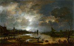 Aert van der Neer - A River near a Town, by Moonlight