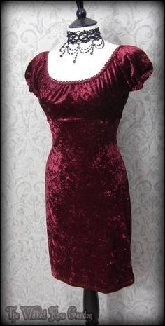 Romantic Goth Burgundy Crushed Velvet Mini Dress 10 Alternative 90's Grunge   THE WILTED ROSE GARDEN