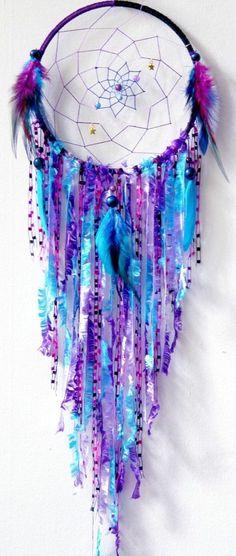 traumfänger selber basteln blau lila