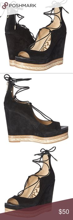 SAM EDELMAN ESPADRILLE WEDGES- Size 8.5 Such cute shoes, just a little small for me. Bought about a month ago and wore two times. Only wear is on soles. These look great with pretty much everything- especially dresses. Near-perfect condition. Sam Edelman Shoes Espadrilles