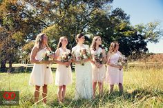 Elizabeth + Patrick's Wedding at Lenora's Legacy. Photo credit: Cureton Photography Bride and bridesmaids before the ceremony.