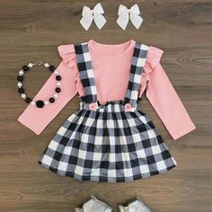 Sweet Plaid Toddler Baby Girl Tops T-shirt Suspender Skirt Dress Outfits Clothes in Baby, Baby Clothing, Girls Little Girl Outfits, Little Girl Fashion, Toddler Girl Outfits, Baby Girl Dresses, Toddler Fashion, Baby Dress, Baby Outfits, Dress Outfits, Kids Outfits
