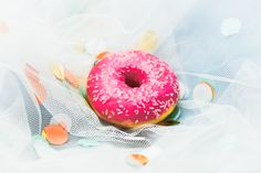 still life photography. Coffee Cake, Life Photography, Doughnut, Confetti, Peach, Candy, Desserts, Pink, Food