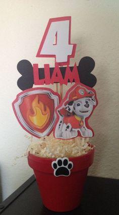 Paw Patrol Marshall Inspired Centerpiece by MadeForYouByMonica Fireman Birthday, Fireman Party, 6th Birthday Parties, 3rd Birthday, Birthday Ideas, Paw Patrol Party Supplies, Paw Patrol Birthday Theme, Cumple Paw Patrol, Minion
