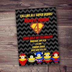 Super Hero Birthday Invitation spiderman por AmysSimpleDesigns