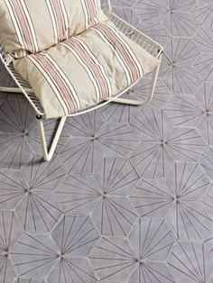 Dandelion - lavender/aubergine by Claesson Koivisto Rune (Marrakech Design) Floor Patterns, Tile Patterns, Floor Design, Tile Design, Floor Rugs, Tile Floor, New England Homes, Tiles Texture, Floor Finishes