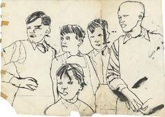 Exhibition: Andy Warhol – Zeichnungen der 1950er Jahre Ohne Titel (Five Boys), um 1954. Tusche und Graphit auf Papier 53,6 x 74,2 cm; Courtesy: Daniel Blau Munich/ London. © The Andy Warhol Foundation for the Visual Arts, Inc.