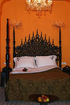 Moroccan Bedroom Decorating Idea with Cool Ornament of Bed