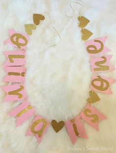 Pink and Gold First Birthday Banner via Pretty My Party