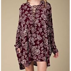 Lace Up Dress Floral Printed Bohemian Swing Tunic