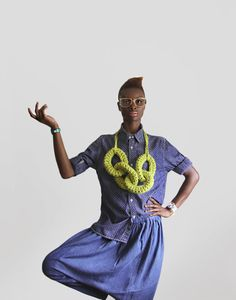 Beyond beautiful - the girl, the pose, the styling. Would love some knitted jewelry like this. (Four Ring Chain in Lime-aid - More Yokoo. Chunky Crochet, Knit Crochet, Textiles, Mommy Style, Textile Jewelry, Neck Piece, Yarn Bombing, Knitting Accessories, Style Guides