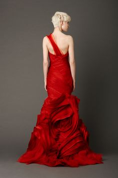 Red wedding dress by Vera Wang