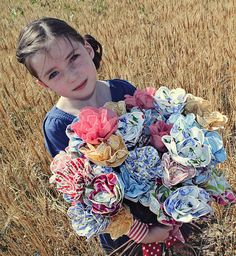 Fabric flowers are adorable and what a great use for a fabric stash