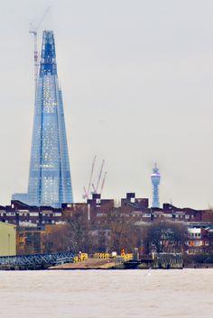The Shard -London & the UK's newest tallest building, opening in 2013, viewing galleries on floors 68-72, 800ft above London's streets, Shangri-La hotel on floors 34-52, luxury apartments on floors 53-65, restaurants on 3 levels, glass atrium on floors 31-33. SE1, London Bridge Tube.