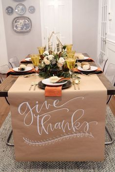 thanksgiving table setting inspiration with calligraphy and magnolia leaves #thanksgiving