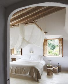 = bamboo hung bed net and stumps