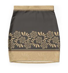 """Ornament ""Black and gold"""" Pencil Skirts by floraaplus 