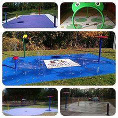 My Splash Pad Preschool Daycare Splash Park. This blog explains how we can take an unused patio and make it an outdoor classroom for a daycare or preschool.  Splash pads are a great sensory play activity. Check out our sensory water play features also.