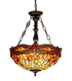 Chloe Lighting CH33471AD18-UH2 Empress Tiffany-Style Dragonfly 2-Light Inverted Ceiling Pendant with Fixture with 18-Inch Shade - - Amazon.com