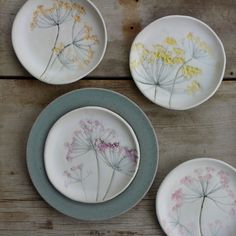 colorful dill flower ceramic plates