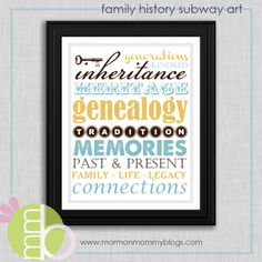 Free Family History Subway Art