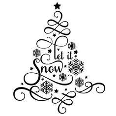 Silhouette Design Store: Let It Snow Tree Christmas Stencils, Christmas Vinyl, Christmas Words, Christmas Quotes, Christmas Crafts, Xmas, Christmas Ornaments, Christmas Mandala, Christmas Stickers