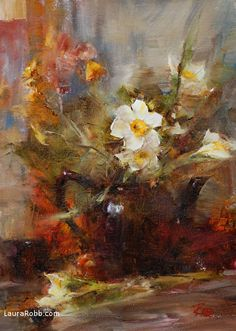 Teapot with Narcissus by Laura Robb Oil ~ 14 x 10