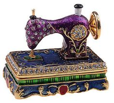 purple trinket boxes   ... -Pewter-Jeweled-TRINKET-BOX-Crystal-Gold-SEWING-MACHINE-Purple