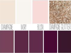 Blush, plum, ivory, champagne sparkle wedding color palette.                                                                                                                                                                                 More