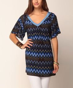 Take a look at this Blue Zigzag Amara V-Neck Tunic by Jantie on #zulily today!