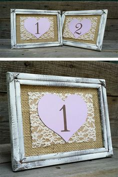 Wedding lace against burlap, LOVE IT! This makes great-looking wedding table numbers. MaryAlice will make them for you. $10 each. Learn more about it via the first two listings on the page. In the My Online Wedding Help products section. #MyOnlineWeddingHelp #WeddingLace #BurlapWedding #WeddingTable