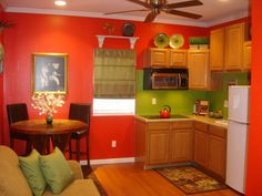 Mother - in - law suite idea. Small corner kitchen with 2-seat dining area