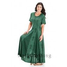 Green Jade Catriona Empire Flare Boho Godet Gypsy Peasant Long Dress Gown