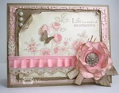 Elements of Style card.The main image was stamped in Crumb Cake, then I used my aqua brush and water colored in some Pretty in Pink and Regal Rose ink, then add some Dazzling Diamonds glitter on each of the roses (you can click on the photo for a close up view).  I love