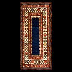Stock Id: #18450    General Rug Type:       Caucasian    Specific Rug Type:       Caucasian-Talish    Circa: 1880    Color: Blue    Origin: Caucasus    Width: 3' 4'' ( 101.6 cm )    Length: 7' 2'' ( 218.4 cm )