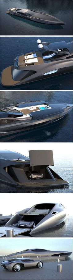 Strand Craft 166... the first and only super yatch that has a garage for its own custom made super car...