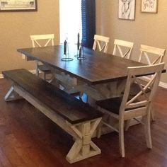 Rustic Kitchen Farmhouse table with bench, Dining table with bench, Farmhouse kitchen tables, Kitche