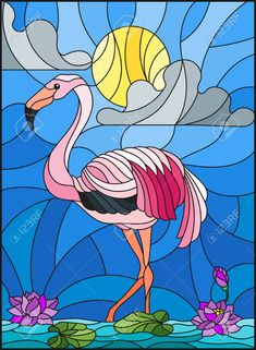 Illustration of Illustration in stained glass style with Flamingo , Lotus flowers and reeds on a pond in the sun, sky and clouds vector art, clipart and stock vectors. Stained Glass Ornaments, Stained Glass Birds, Stained Glass Designs, Stained Glass Patterns, Mosaic Patterns, Glass Painting Designs, Paint Designs, Mosaic Art, Mosaic Glass