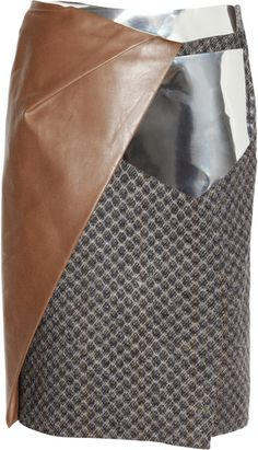 PETER PILOTTO Metallic and Leather paneled Wool tweed Skirt