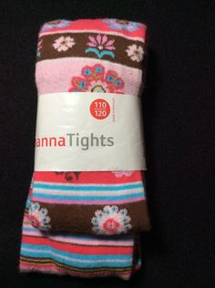 Hanna Andersson Striped Flowers Ankle Tights Girls 110 120 New Brown Pink Blue #Tights