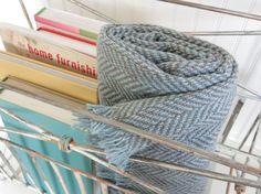 Wool Throw Blanket, Chevron Wool Throw Blanket, Blue Throw Blanket, Lightweight Throw Blanket, Beige Blanket